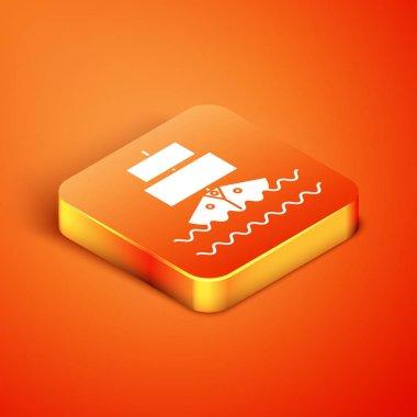 Isometric Ship icon isolated on orange background. Vector Illustration