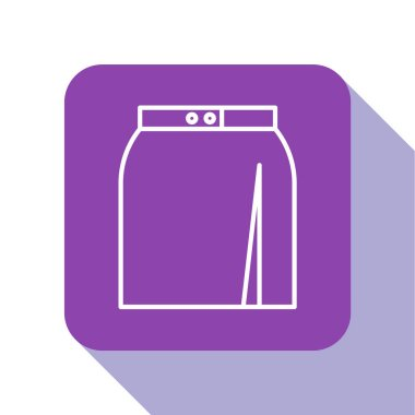 White line Skirt icon isolated on white background. Purple square button. Vector Illustration
