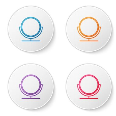 Color line Round makeup mirror icon isolated on white background. Set icons in circle buttons. Vector Illustration