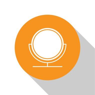 White Round makeup mirror icon isolated on white background. Orange circle button. Vector Illustration