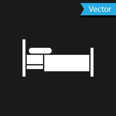 White Bed icon isolated on black background. Vector Illustration