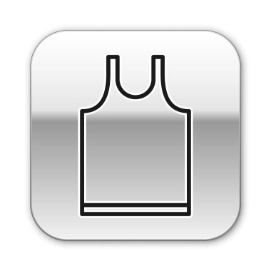 Black line Sleeveless T-shirt icon isolated on white background. Silver square button. Vector Illustration