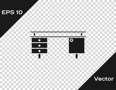 Grey Office desk icon isolated on transparent background. Vector Illustration