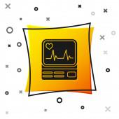 Fekete számítógép monitor cardiogram ikon izolált fehér háttér. Figyelő ikon. EKG monitor szívverés kézzel rajzolt. Sárga négyzetgomb. Vektoros illusztráció
