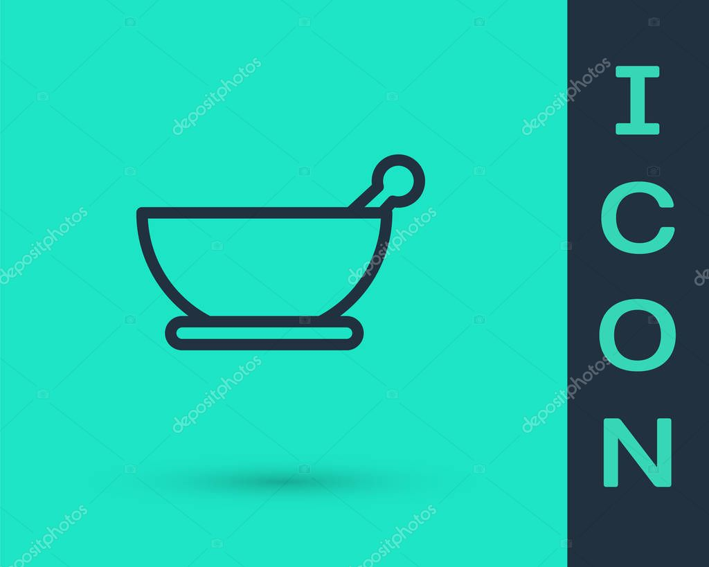 Black line Mortar and pestle icon isolated on green background.  Vector Illustration