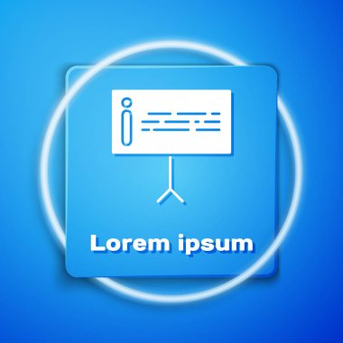 White Information icon isolated on blue background. Blue square button. Vector Illustration