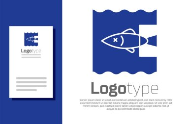 Blue Stop ocean plastic pollution icon isolated on white background. Environment protection concept. Fish say no to plastic. Logo design template element. Vector Illustration