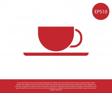 Red Coffee cup icon isolated on white background. Tea cup. Hot drink coffee. Vector Illustration
