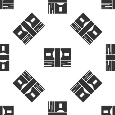 Grey Stacks paper money cash icon isolated seamless pattern on white background. Money banknotes stacks. Bill currency.  Vector Illustration