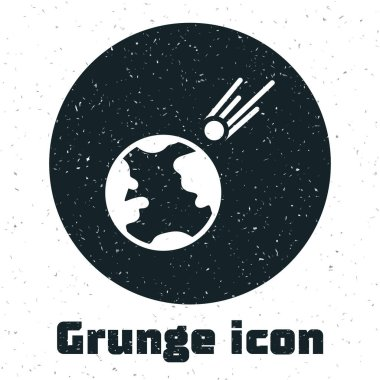 Grunge Comet falling down fast icon isolated on white background. Monochrome vintage drawing. Vector Illustration