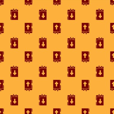 Red Holy bible book icon isolated seamless pattern on brown background.  Vector Illustration