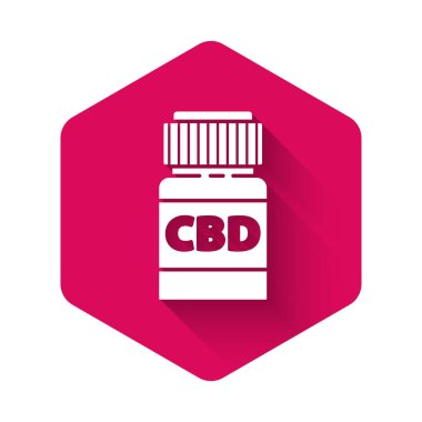 White Medical bottle with marijuana or cannabis leaf icon isolated with long shadow. Mock up of cannabis oil extracts in jars. Pink hexagon button. Vector Illustration