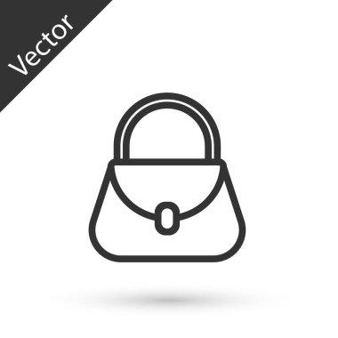 Grey line Handbag icon isolated on white background. Female handbag sign. Glamour casual baggage symbol.  Vector Illustration