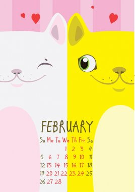 White and yellow cat on a pink background with hearts. From cat lovers. February Calendar