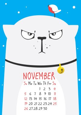 thick cute gray cat wearing a collar with a little bird on the head on a blue background. November calendar