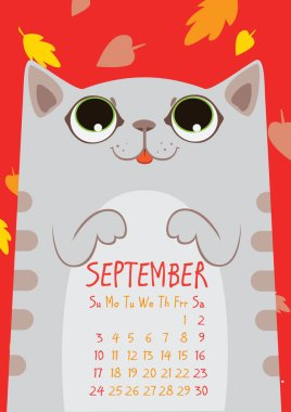 gray striped cute cat under falling leaves on red background. September calendar