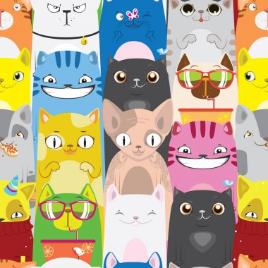 bright pattern of multicolored cats