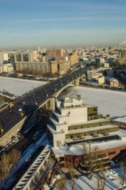 Moscow winter top view river