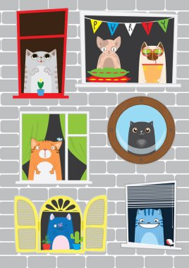 Funny cartoon cats in the window