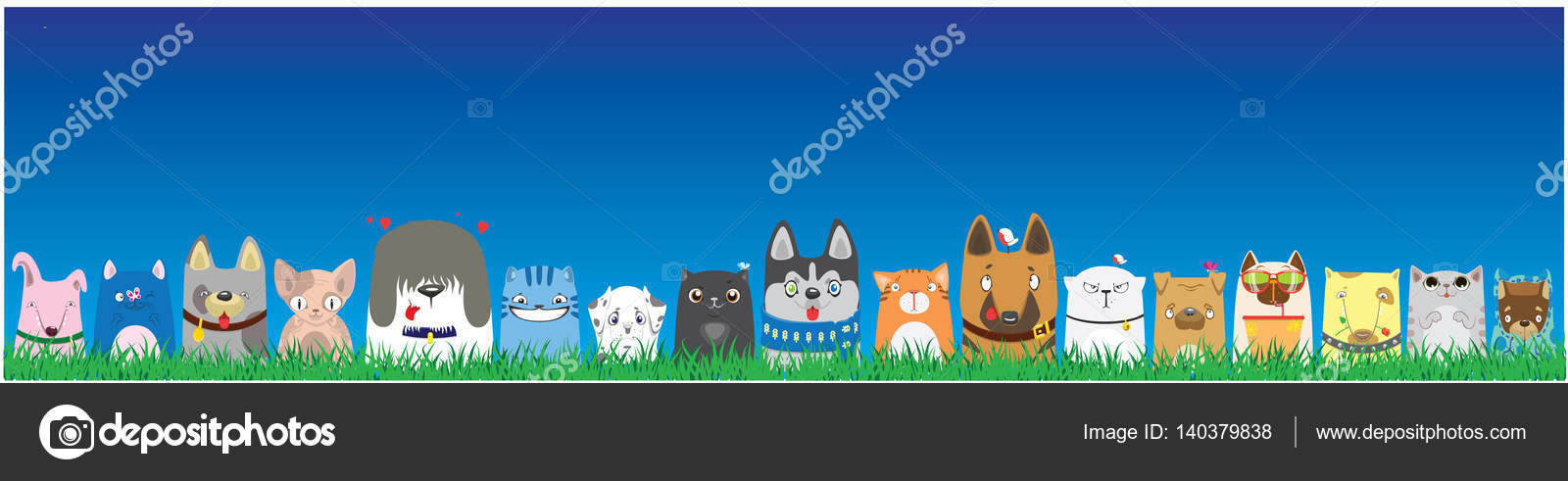 Cartoon Dogs And Cats On Blue Sky Background Cute Pets Background Banner Stock Vector C Vasilixa 140379838