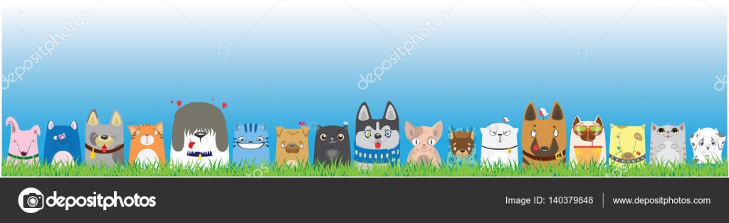 Cartoon Dogs And Cats On Blue Sky Background Cute Pets Background Banner Stock Vector C Vasilixa 140379848