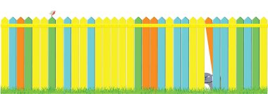 Cartoon dog and cat on the fence on blue sky background. Cute pets background. Banner