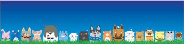 Cartoon dogs and cats on blue sky background. Cute pets background. Banner