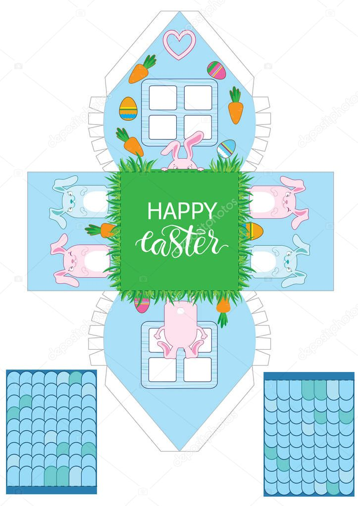 Printable gift easter house with banny, eggs and carrots. Easter Decor template 3 d house. Easy for installation - print, cut, fold it. House 3d Paper Craft. Vector packaging design for sweets
