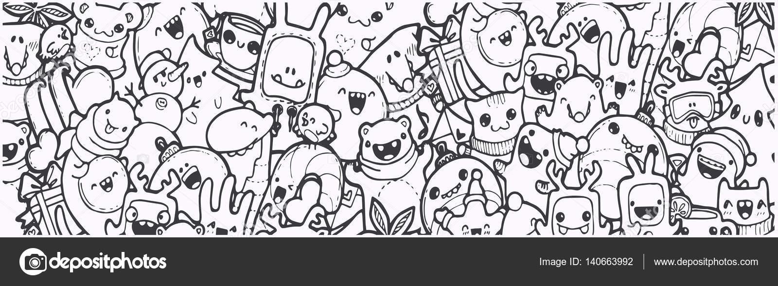 Bandera de Doodle de invierno. dibujos animados año nuevo vacaciones ...