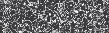 winter color Doodle banner. cartoon new year holidays. White on black, chalk on a blackboard. black-and-white doodles hand-drawn contour on a black background