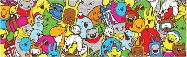 winter color Doodle banner. cartoon new year holidays. Colorful banner