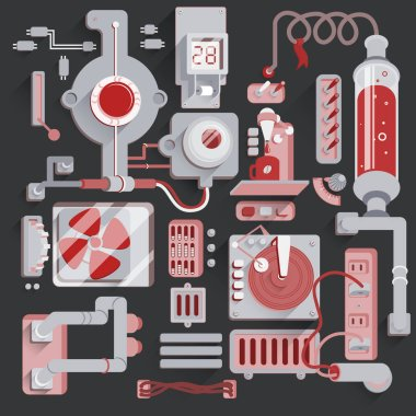 Machine mechanical parts background. Steampunk Illustration of Multiple elements Connected by wires and pipes.