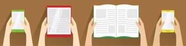 Hands holding open book, smartphones and tablet computer. Top view. Flat design modern vector illustration isolated on brown background. Reading concept