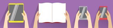 Hands holding open book, smartphones and tablet computer. Top view. Flat design modern vector illustration isolated on violet background. Reading concept