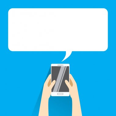 Hands holing white smartphone with blank speech bubble for text. Text messaging flat design concept.