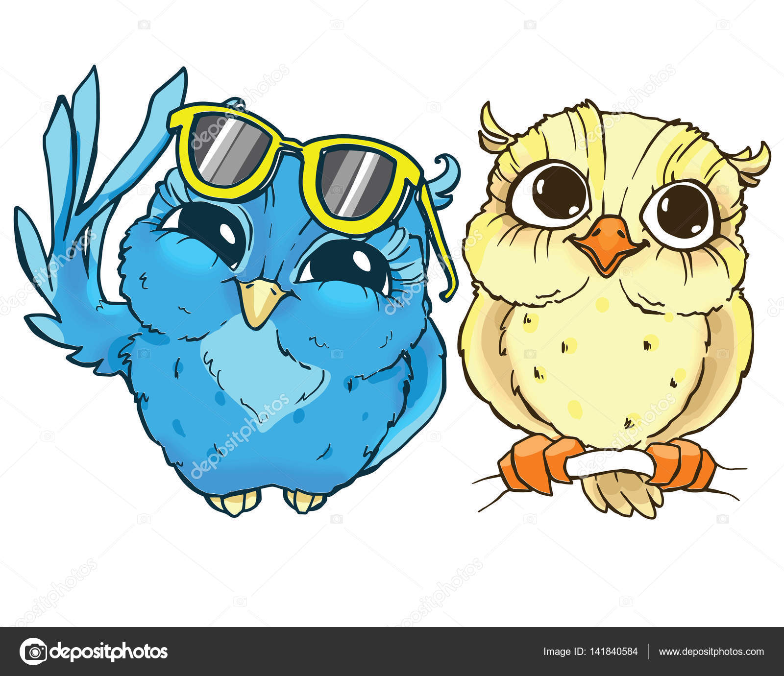 Colorful cartoon owls hand drawn contour on a white background colorful cartoon owls hand drawn contour on a white background stock vector voltagebd Images