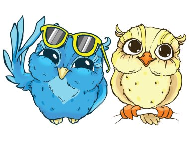 Colorful cartoon owls. Hand-drawn contour on a white background