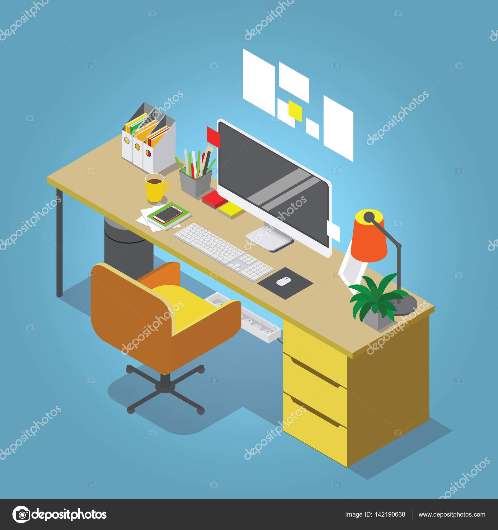 Workplace Interior Set Office Table Modern Chair Desktop Computer Lamp Trash Basket Books Keyboard Vector By Vasilixa