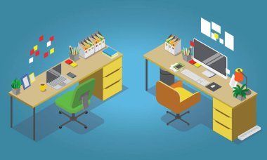 Isometric office concept vector illustration. Workplaces interior set: office table, modern chair, desktop computer, lamp, trash basket books, keyboard.