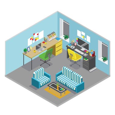 Flat 3d isometric abstract office floor interior departments concept vector. Office workspace. Office room.