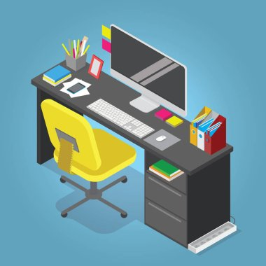 Isometric vector home office concept illustration. Workplace interior set: office table, modern chair, desktop computer, lamp, trash basket books, keyboard.
