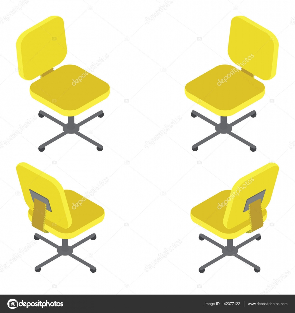 Set yellow office chair on white background Flat 3d isometric