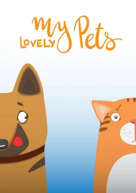 Cartoon dog and cat. Cute pets background. Banner my lovely pets.