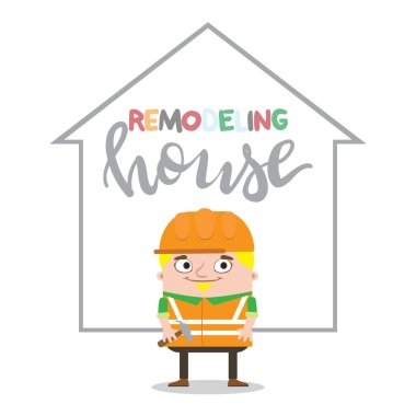 Colorful construction worker in helmets for different house remodeling and building works at construction site. Remodeling house