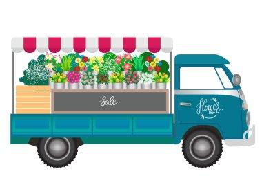 Flower shop. Flowers shop mobile on wheels. Vector illustration.