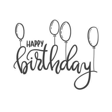 Happy Birthday. Hand lettering typography template. For posters,