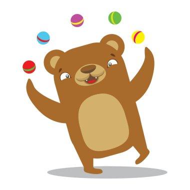 Circus bear juggling balls. Circus concept. Flat cartoon vector