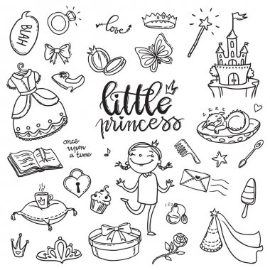 Little princess funny graphic set. Girls dress, butterfly, mirro