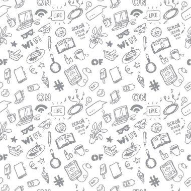 Social media for girls sketch vector seamless doodle pattern