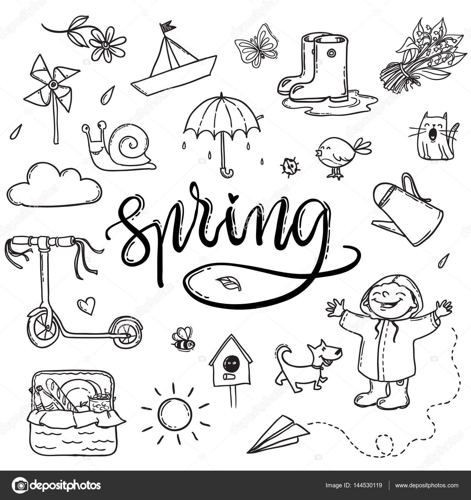 Handgezeichnete Schriftzug Frühling Lustige Grafik Satz Regenschirm